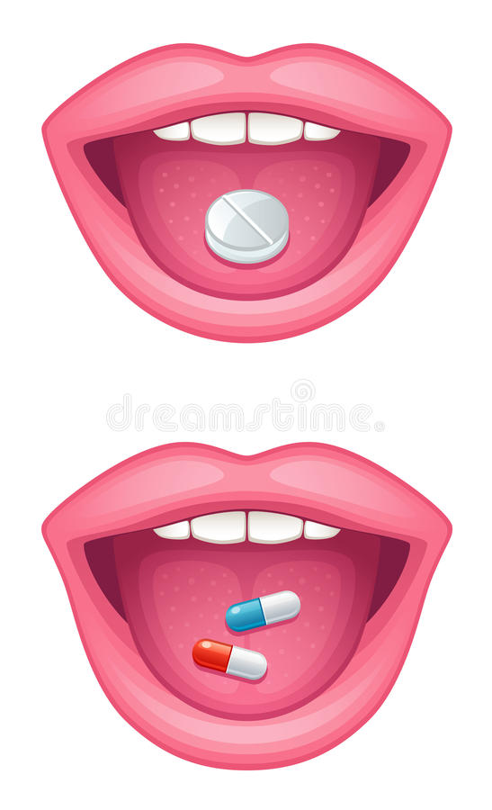 Download Tablet in the mouth stock vector. Illustration of pharmaceutical - 14296394