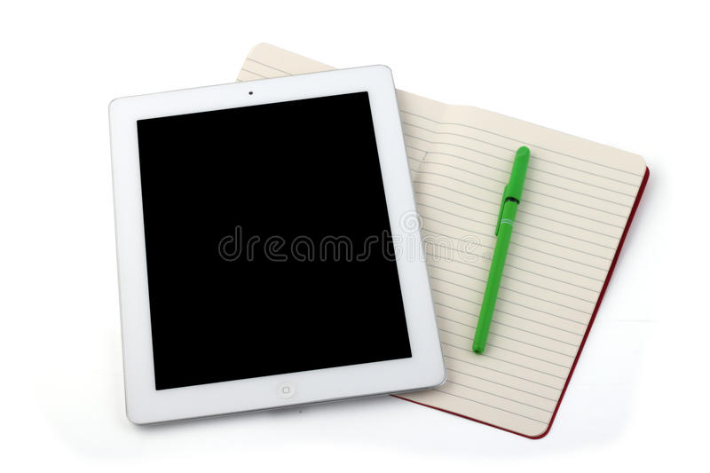 Tablet notebook and pencil stock photos