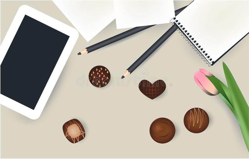 Tablet, notepad, pencil and flower, chokolate candies stock illustration
