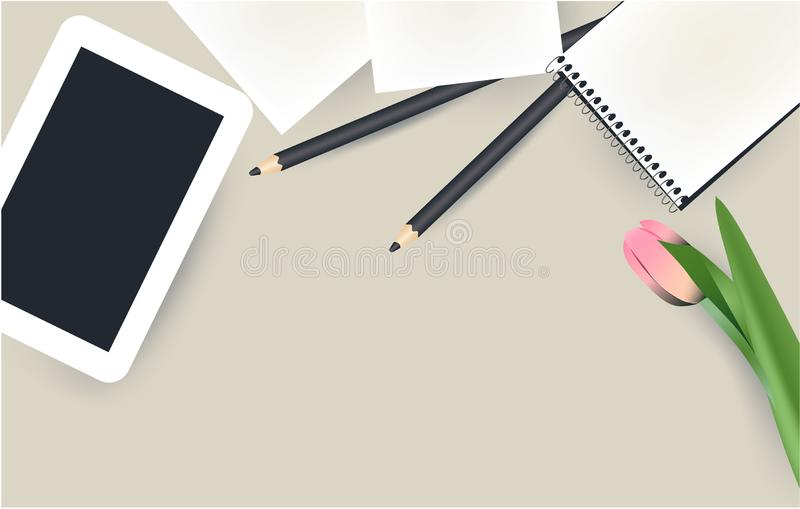 Tablet, notepad, pencil and flower top view stock illustration