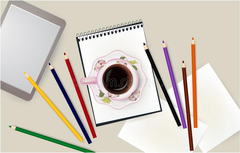 Tablet, notepad, pencils, notebook, cup of coffee vector illustration
