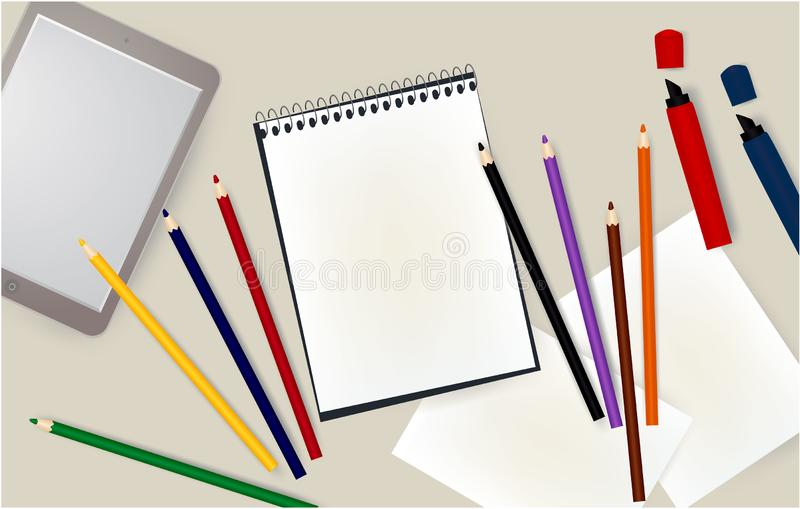 Tablet, notepad, pencils, notebook, markers, E-Book office vector illustration
