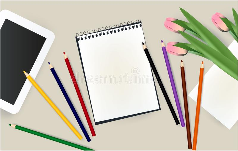 Tablet, notepad, pencils, school, notebook, flowers office royalty free illustration