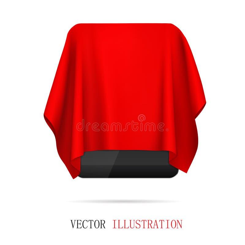 Tablet omhuld rood doek, presentatie nieuwe tablet, geschenk royalty-vrije stock fotografie