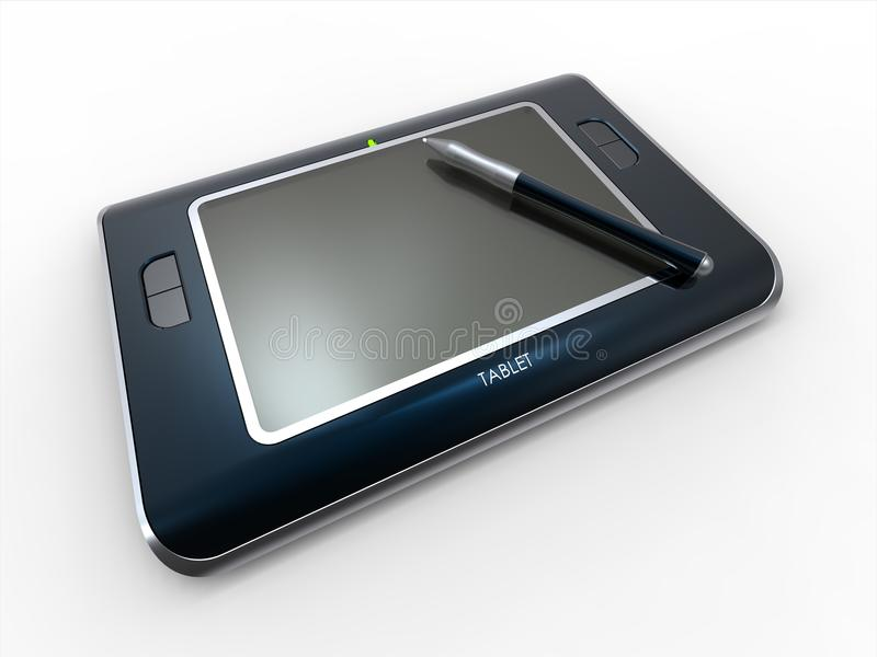 Tablet PC. A 3D CAD illustration of a concept tablet PC on white background royalty free illustration