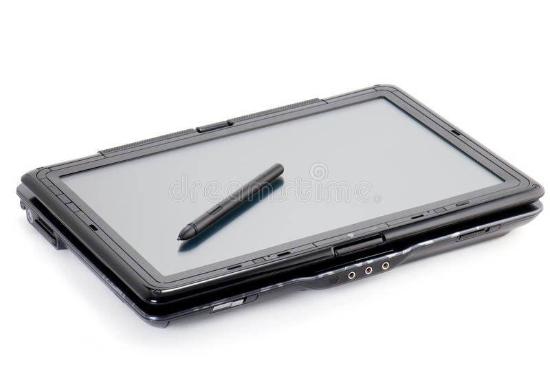 Tablet PC. Isolated on white with stylus on the screen stock image