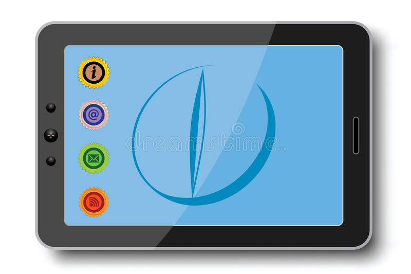 Tablet pc. With tablet on background and icons vector illustration