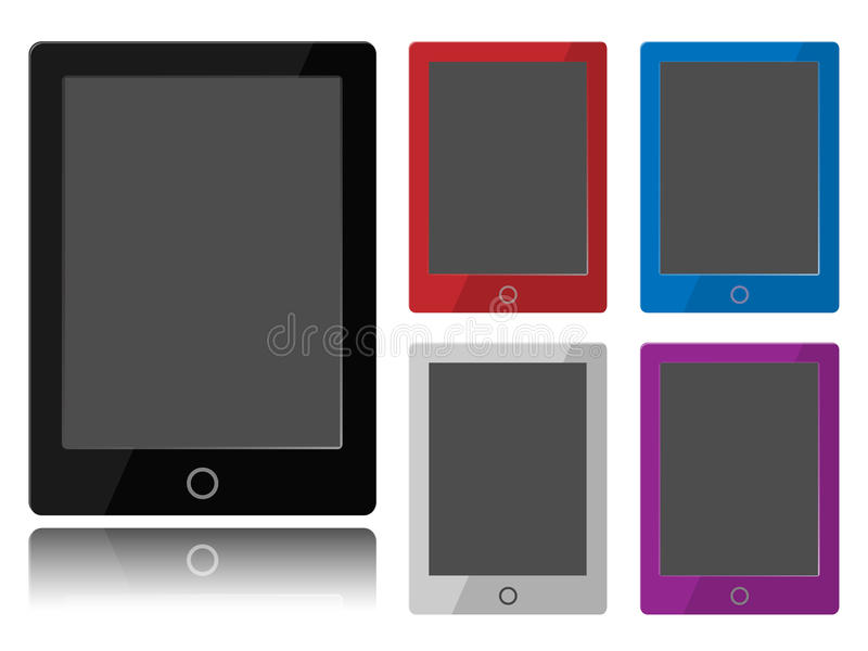 Tablet PC. Layout with empty screen for use custom image or/and text. Made with overlayed layers for easy change color of tablet border stock illustration