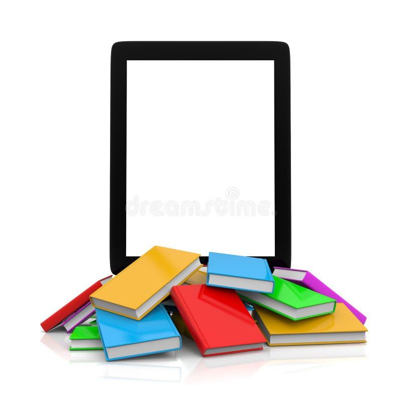 Tablet-PC auf einen Haufen von Büchern stock abbildung