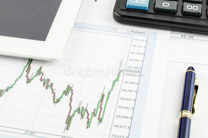 Tablet PC, calculator, pen and financial graph on white background. stock images