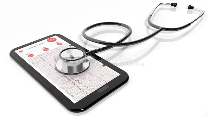Tablet pc with cardiogram and a stethoscope royalty free illustration
