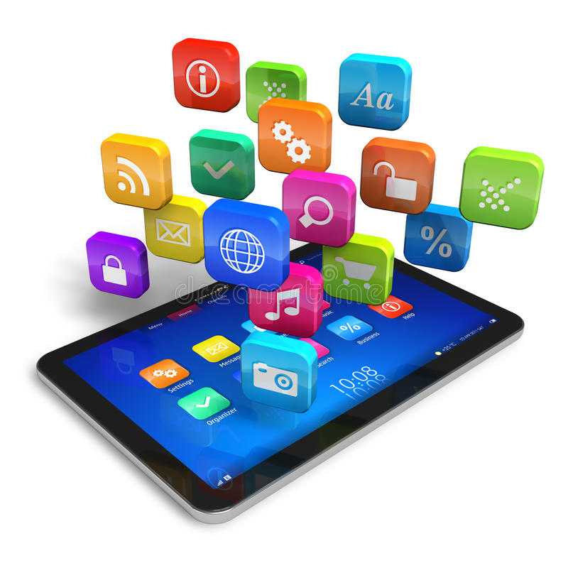 Tablet PC with cloud of application icons royalty free illustration