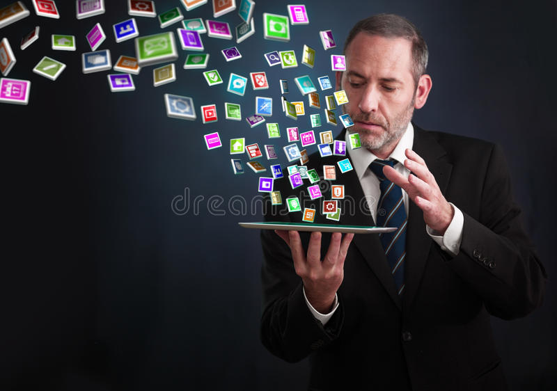 Download Tablet PC With Cloud Of Application Icons Stock Illustration - Image: 31593521