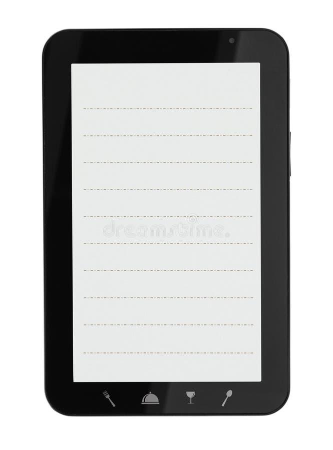 Tablet pc com ícones do alimento ilustração do vetor