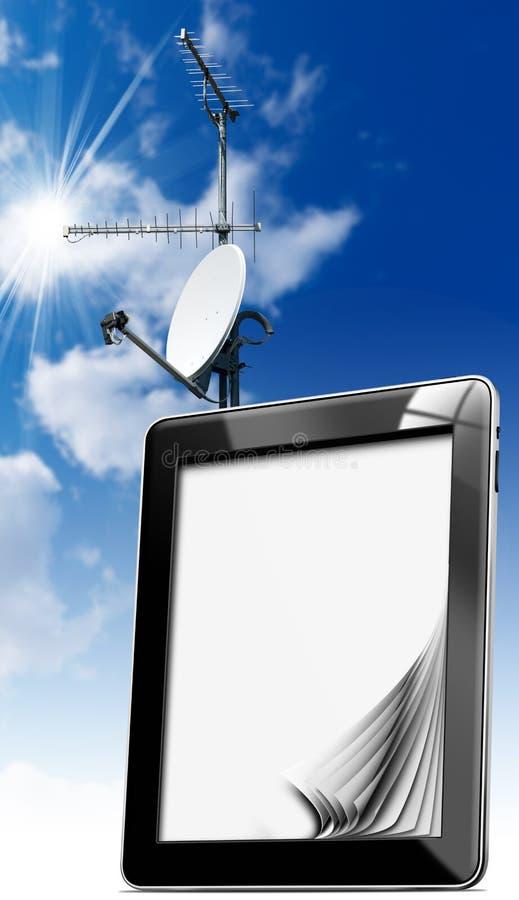 Tablet pc com antenas ilustração royalty free