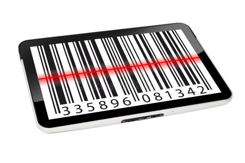 Tablet pc com código ean ilustração do vetor