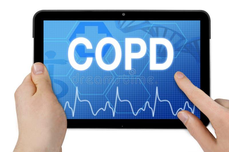 Tablet pc com diagnósticos COPD fotografia de stock