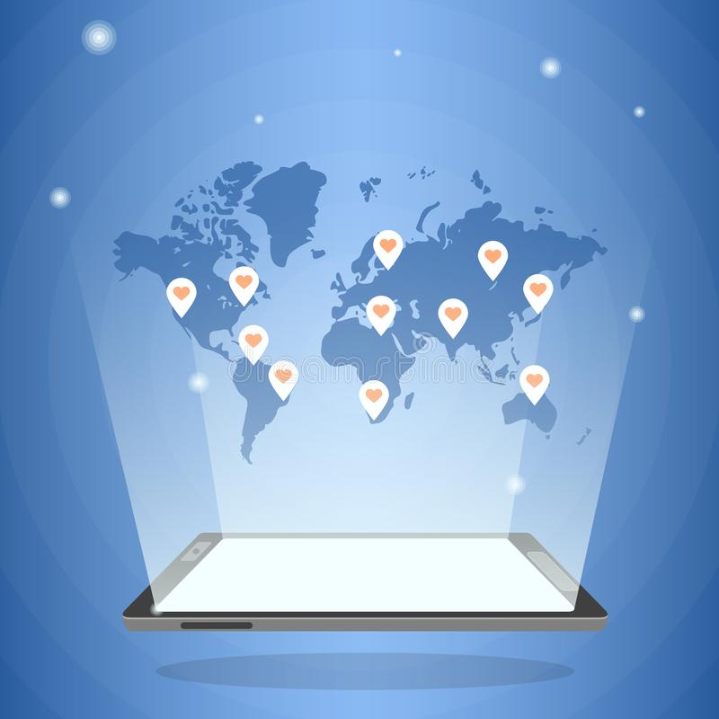 Tablet pc com o mapa do mundo holográfico em sua luz ilustração do vetor