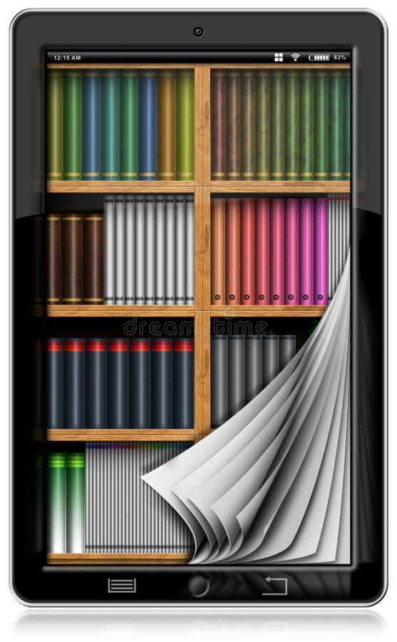 Tablet pc com páginas e biblioteca ilustração do vetor