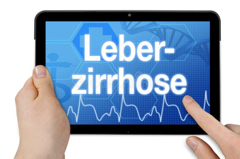 Tablet pc com a palavra alemão para a cirrose do fígado - Leberzirrhose imagens de stock