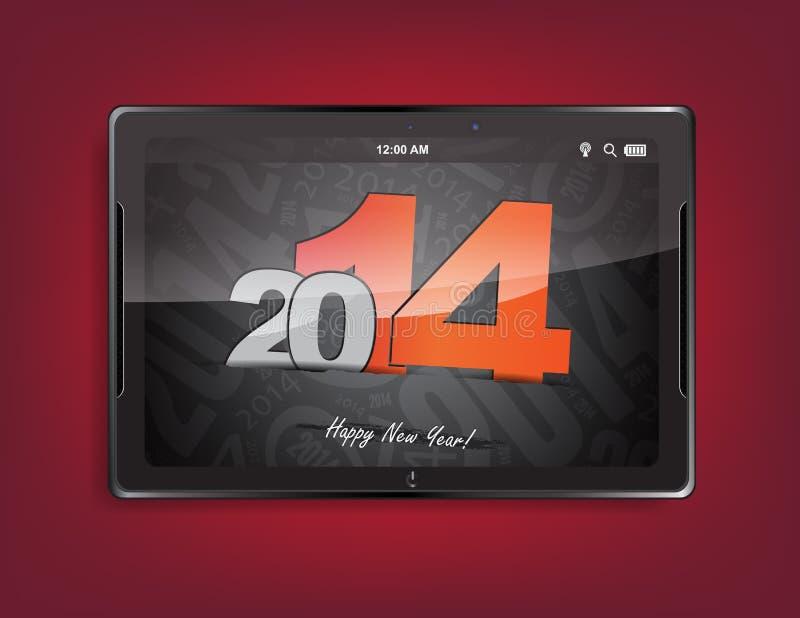 Tablet pc com um fundo 2014 ilustração royalty free