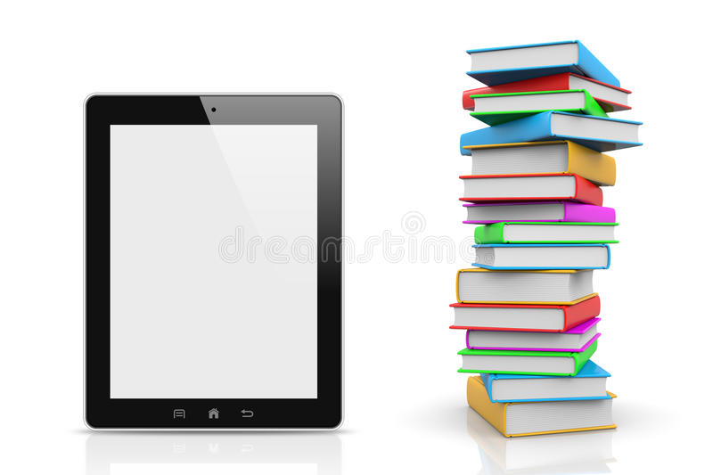 Tablet Pc Compared to a Pile of Books royalty free illustration