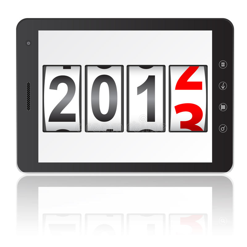 Tablet PC computer with 2013 New Year counter stock illustration