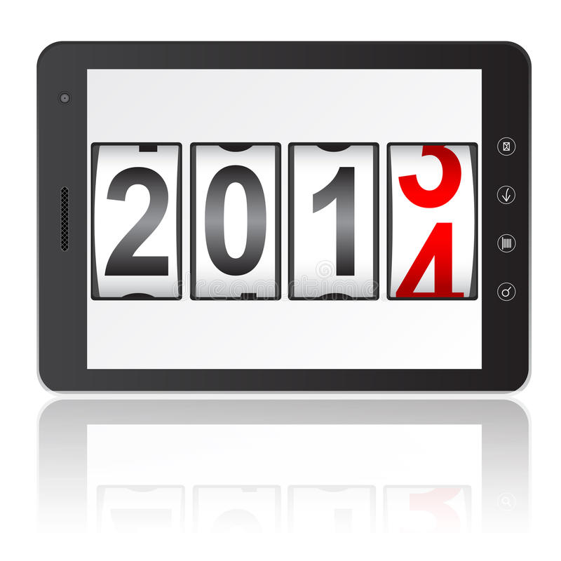 Tablet PC computer with 2014 New Year stock illustration