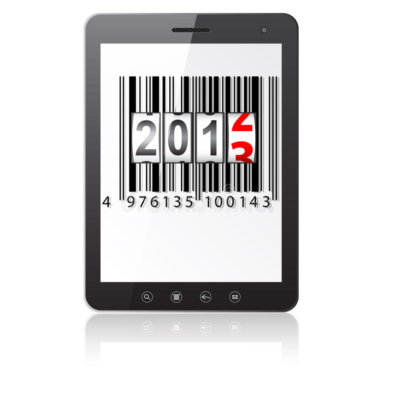 Tablet PC computer. With 2013 New Year counter, barcode on white background. Vector illustration vector illustration