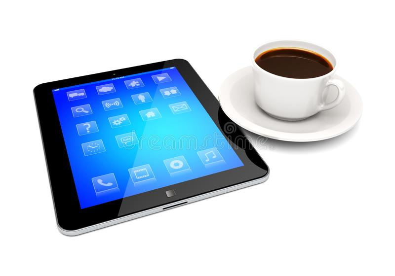 Tablet pc and coffee cup on a white royalty free illustration