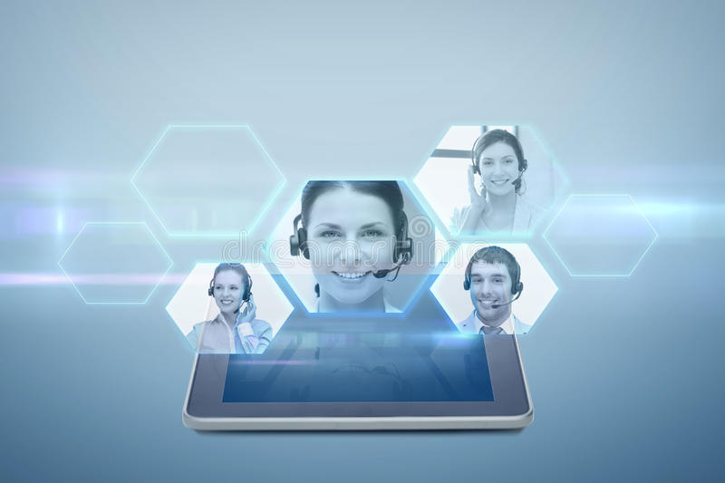 Tablet pc computer with video chat projection royalty free illustration