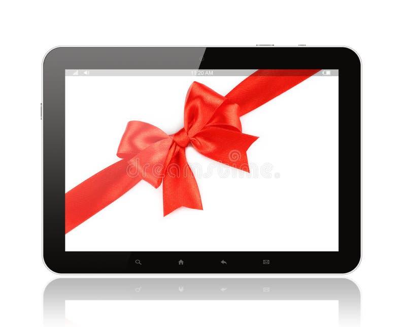 Tablet PC con el arco rojo ilustración del vector