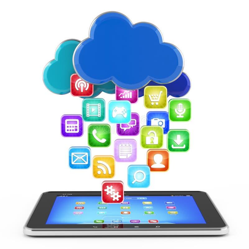 Tablet PC con la nube de los iconos del uso aislados ilustración del vector
