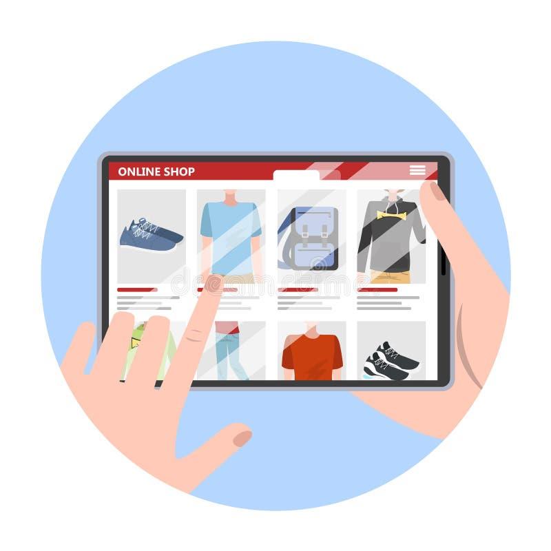 Tablet pc da terra arrendada da mão e bens da pesquisa ilustração royalty free