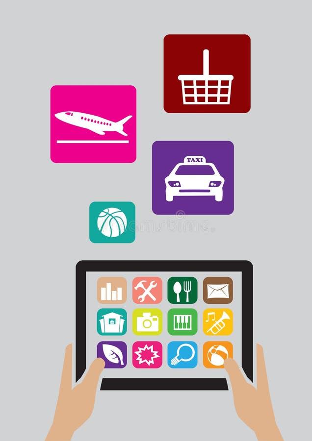 Tablet pc de Digitas e ícones de Apps ilustração stock