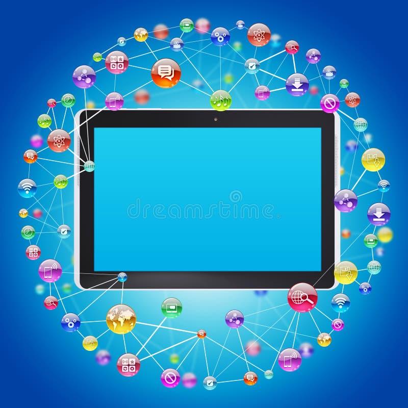 Tablet PC e iconos del uso ilustración del vector