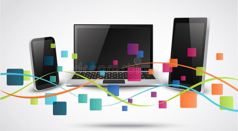 Tablet pc e telefones celulares com ícone colorido da aplicação ilustração royalty free