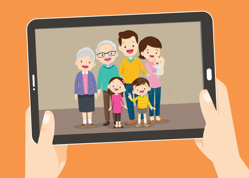 Tablet pc with the family photo,Hands holding touch screen tablet pc stock illustration