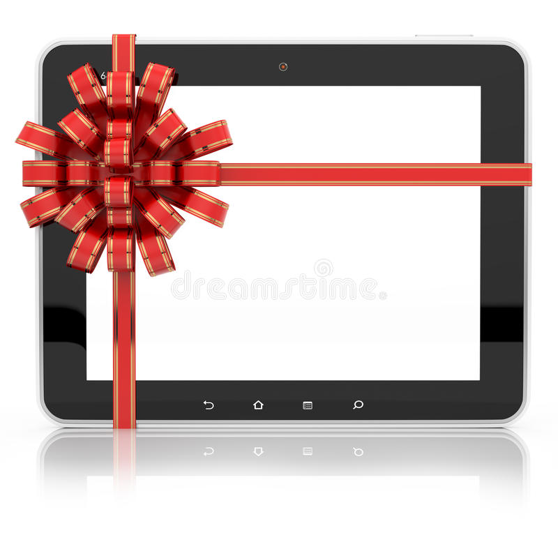 Free Tablet PC Gift Tied With Ribbon Stock Photography - 57810862