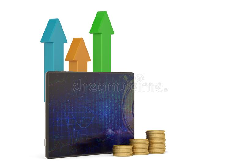 Tablet pc and gold coins isolated on white background 3D illustration.  vector illustration