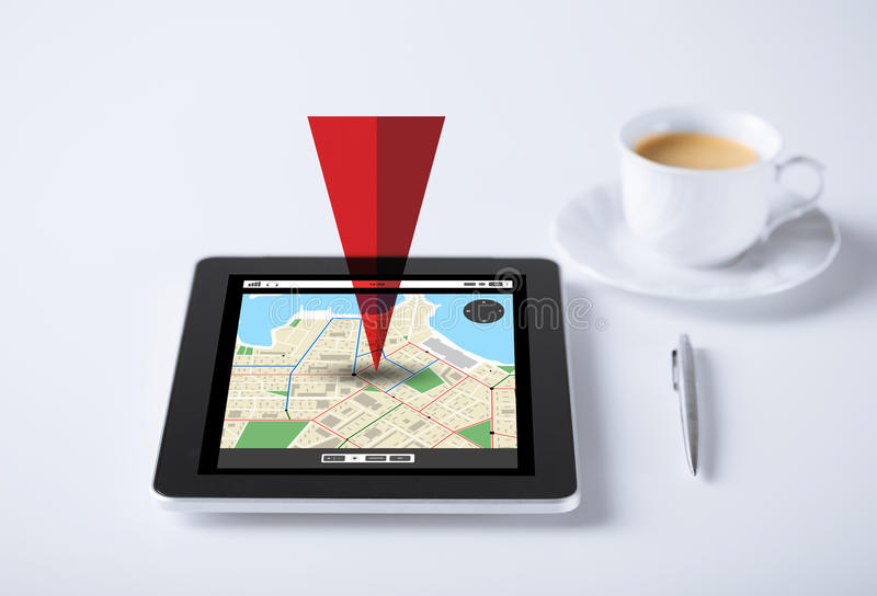 Tablet pc with gps navigator map and cup of coffee vector illustration
