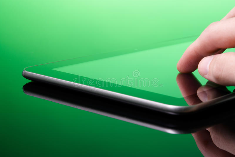Tablet PC Is Green (eco) Royalty Free Stock Image
