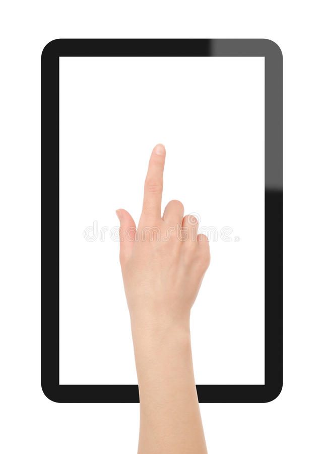 Tablet PC with Hand. Hand click on Tablet PC. Include clipping path for hand and 2 clipping path for screen and tablet. Isolated on white. XXXL size, ultra