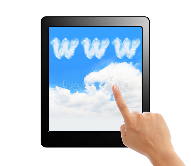 Tablet pc with hand finger ,cloud and sky. Tablet pc with hand finger and www cloud sky screen for cloud computing concept isolated on white background royalty free stock photos