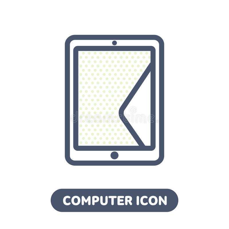 Tablet PC icon in linestyle stock illustration