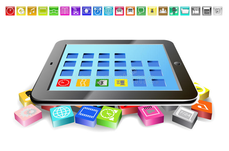 Download Tablet PC and icons. stock vector. Image of isolated - 25262392