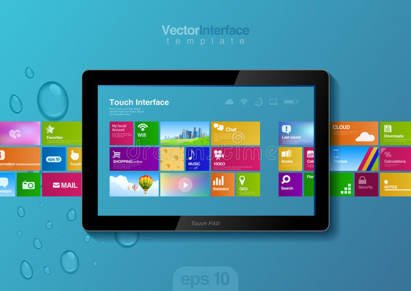 Tablet pc interface. Website design template. Website design template. Tablet pc interface. Touch pad buttons vector illustration