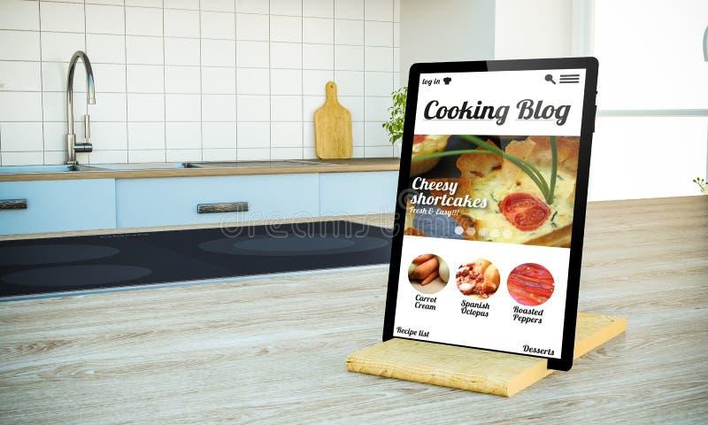 tablet PC mit dem Kochen des Blogschirmes auf Insel an der Küche lizenzfreie stockfotos