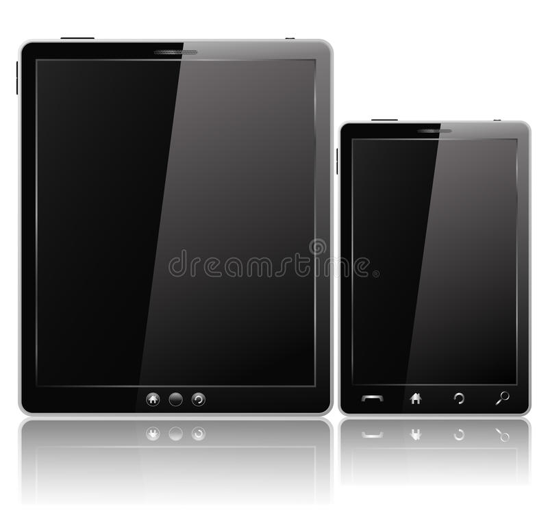 Tablet PC and Mobile Phone stock illustration