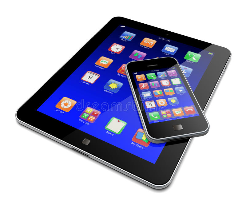 Download Tablet PC With Mobile Phone Stock Illustration - Illustration of data, internet: 26975751